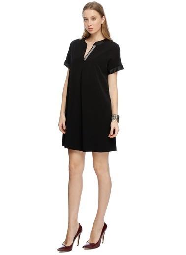 House Of Camellia Kısa Kollu Mini Elbise Siyah